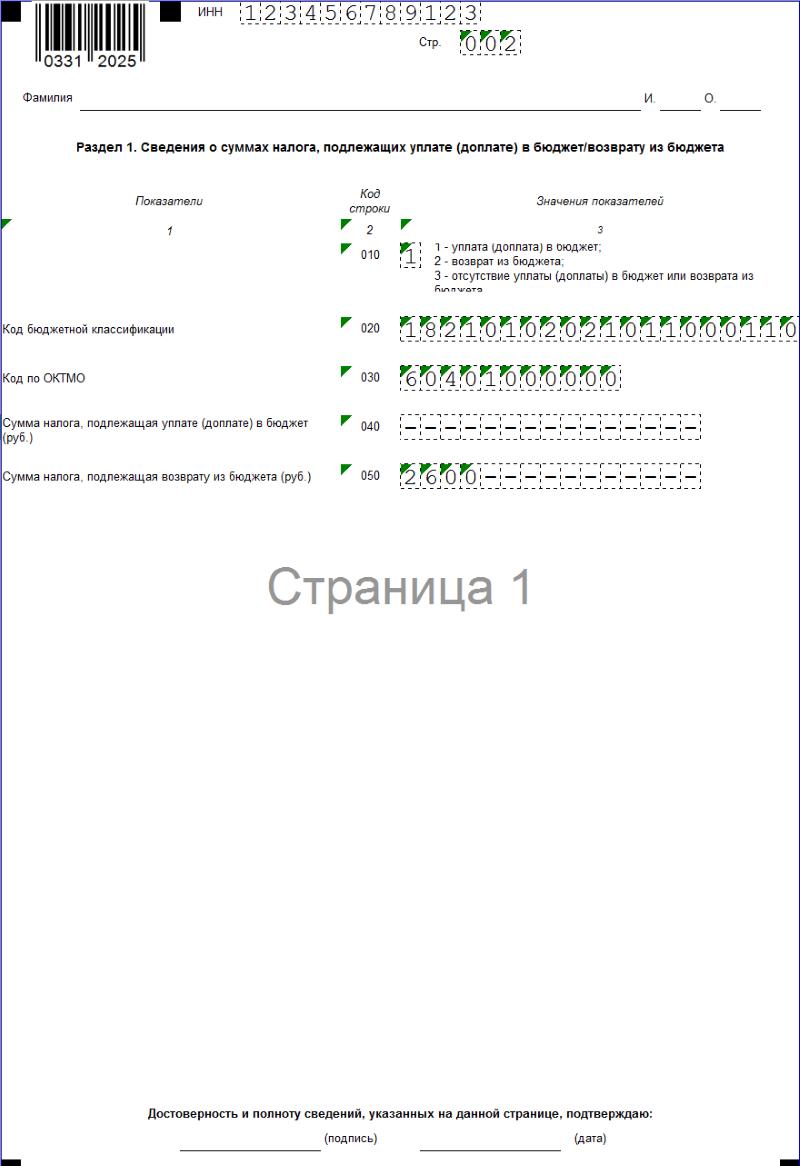 Образец заполнения 3-НДФЛ Р.1