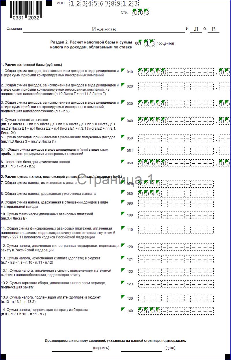 Образец заполнения декларации 3 ндфл на лечение ребенка регистрация ип саратов услуги