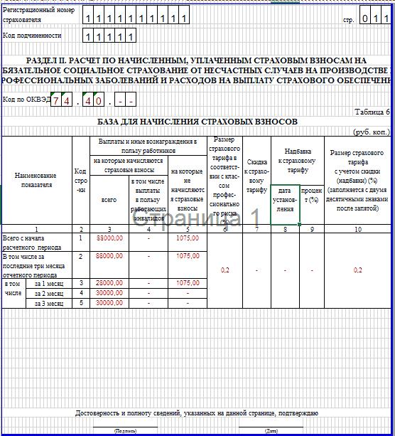 Образец заполнения 4-ФСС. таблица 6
