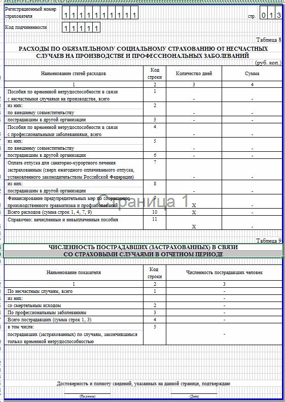 Образец заполнения 4-ФСС. таблица 8,9