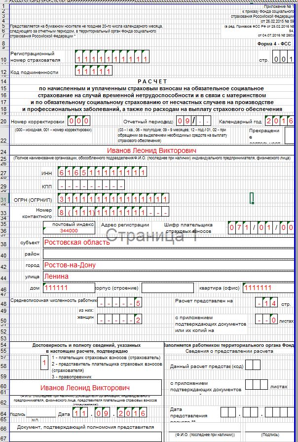Образец заполнения 4-ФСС. Страница 1