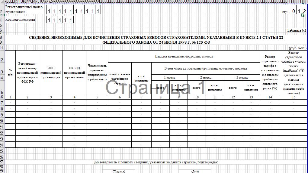 Образец заполнения 4-ФСС. таблица 6.1