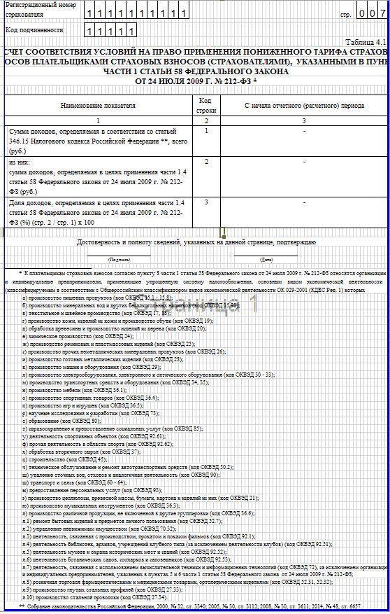 Образец заполнения 4-ФСС. таблица 4.1