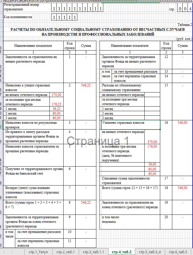 Образец заполнения 4-ФСС. таблица 2