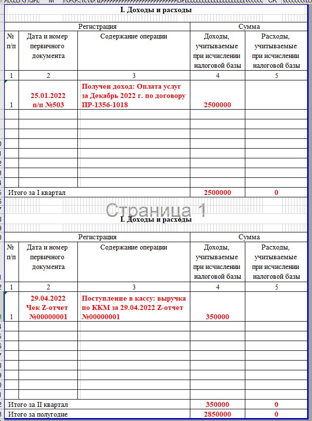 Образец КУДИР УСН Доходы: Содержание операции