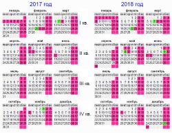 Производственный календарь на 2017-2018 год, праздники, выходные, сокращенные предпраздничные дни